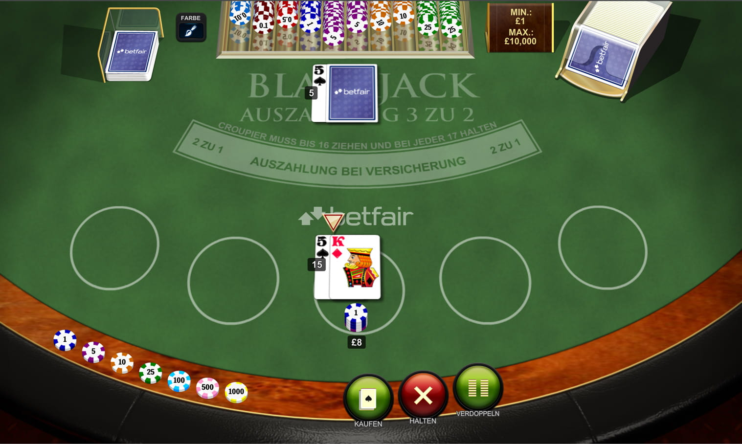 Betfair exchange blackjack bot